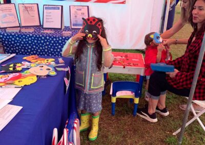 Girl with mask at Delaware County Fair